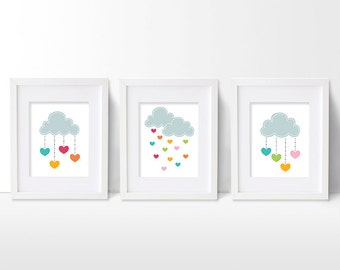 Cloud and Heart Nursery Art Prints, Set of Three Children's Artworks