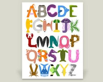 Under the Sea Alphabet Print, Ocean ABC Poster, Nursery Decor Artwork