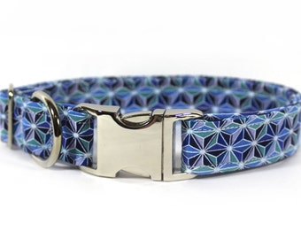 """Geometric blue and teal star dog collar - """"Stained Glass - Sapphire"""""""