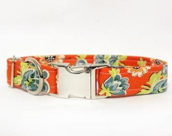 841b624574 Retro girly floral orange and blue female girly dog collar -