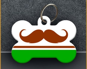 Holiday Mustache PET ID TAGS