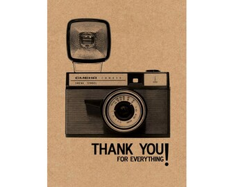 A6 Greeting Card - Thank you Vintage Camera Card