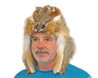 Gray Fox Mountain Man Fur Hat - hts1665