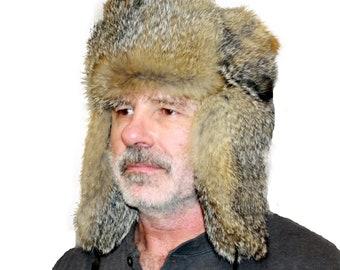 489d13b251613 Glacier Wear Gray Fox Fur Russian Trooper Hat hts1079