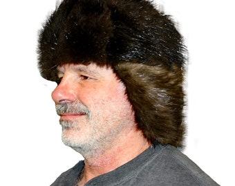 cec96c72240b9 Glacier Wear Natural Black Beaver Fur Russian Trooper Hat hts1002