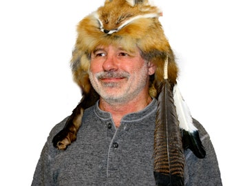 d962e6302b97e Glacier Wear Red Fox Fur Mountain Man Hat Feathers and Rosette hts1676