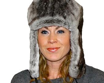 Glacier Wear Chinchilla Rex Rabbit Fur Russian Trooper Hat hts1042 b9507d41480b