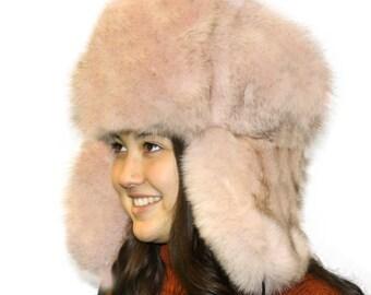 e2970394a3b Glacier Wear Blue Fox Fur Russian Trooper Hat Dusty Pink