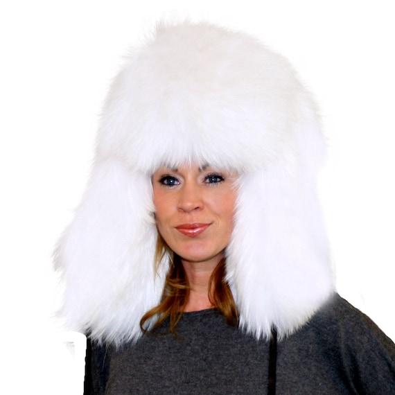 Glacier Wear White Finn Raccoon Fur Russian Trooper Hat  e0b818b02b88