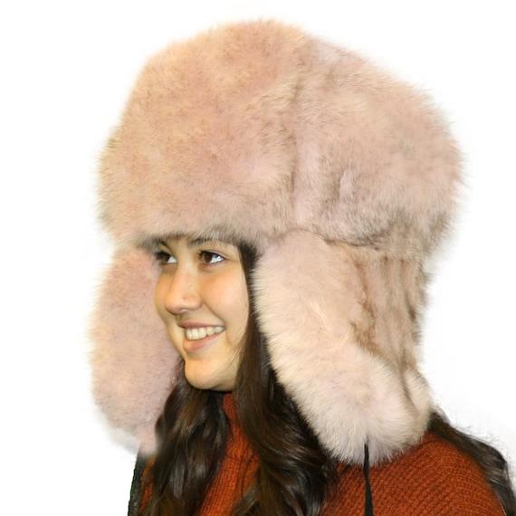 Glacier Wear Blue Fox Fur Russian Trooper Hat Dusty Pink  f1f8c5ee2a29