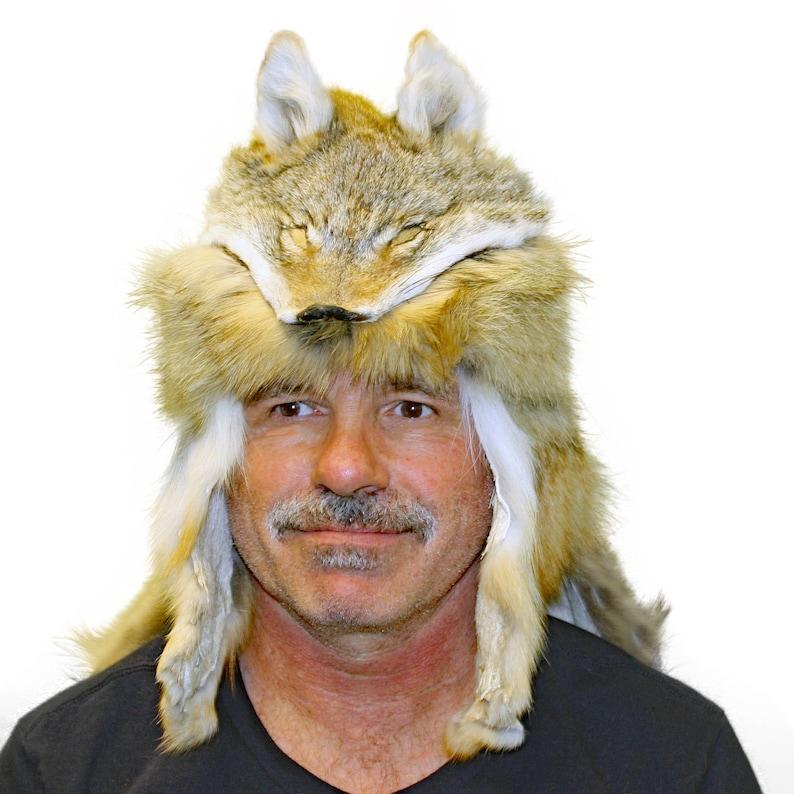 7ab1119338e03 Glacier Wear Coyote Mountain Man Fur Hat With Cape hts1655