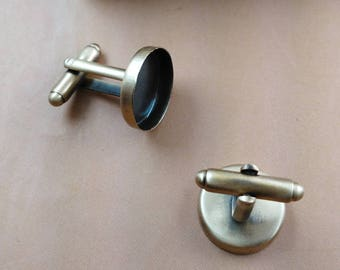 20 pcs RECESSED Style Cuff Link Blank Bezel Brass base smooth bronze