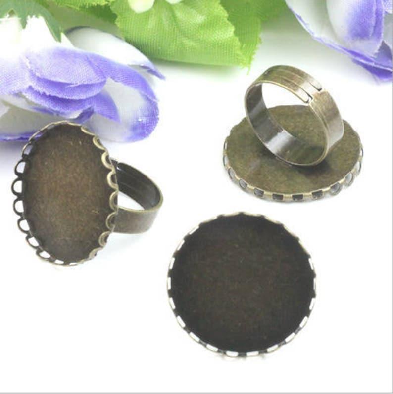 Bulk 10pcs Ring Setting Blank  Bezel Adjustable rings lace border