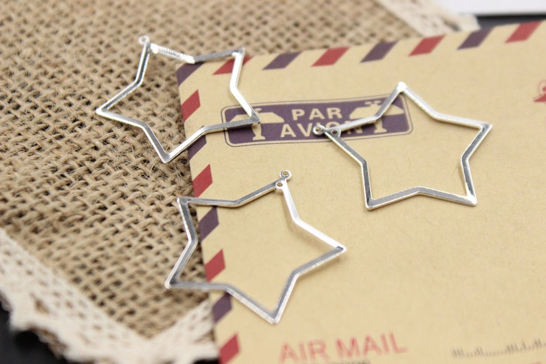 Bulk 100 pcs pendants charms connector star brass base