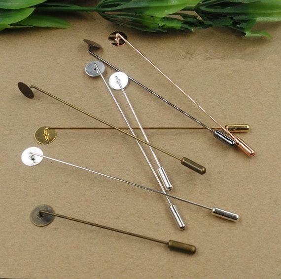 Bulk 50 pcs Tie Pin Lapel Pin Tie Tack Bezel Blank,Back Brooch Collar Clip