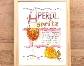 Aperol Spritz Cocktail Illustrated Recipe Art Print / Watercolor Illustration