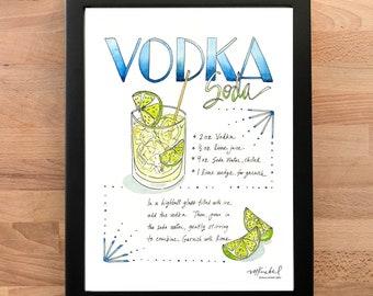 Vodka Soda Illustrated Recipe Art Print / Watercolor Cocktail Illustration