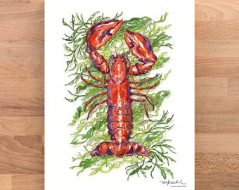 Lobster Watercolor Illustrated Art Print / Beach Art