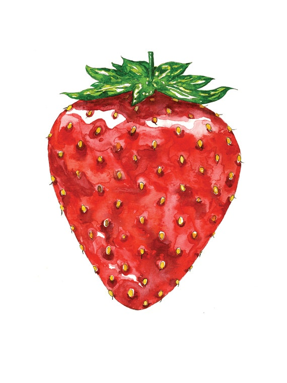 large juicy strawberry illustration in watercolor art print etsy etsy