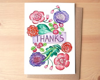 Thanks Flowers Watercolor Illustrated Greeting Card/Stationery + Envelope