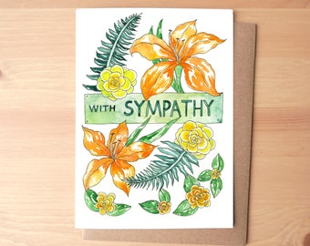 With Sympathy Flowers Watercolor Illustrated Greeting Card/Stationery + Envelope