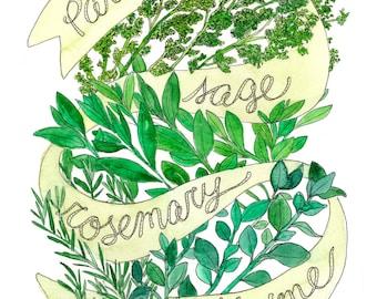 "Parsley Sage Rosemary & Thyme / Simon and Garfunkel, ""Scarborough Fair"" / Herb Illustrated Watercolor Art Print"
