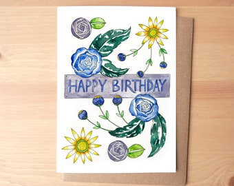 Happy Birthday Flowers Watercolor Illustrated Greeting Card/Stationery + Envelope