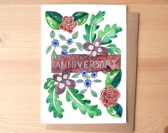 Happy Anniversary Flowers Watercolor Illustrated Greeting Card/Stationery + Envelope