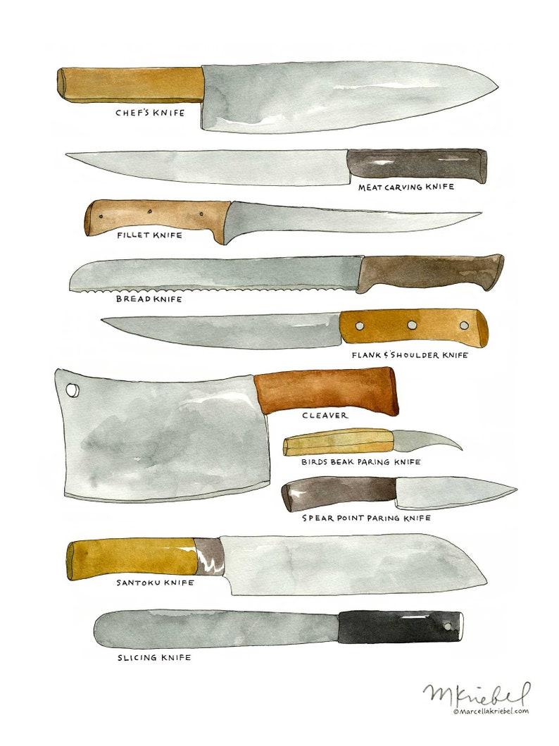 Exceptionnel Kitchen Knives / Various Types Of Chefu0027s Blades Diagram U2022 9x12 Watercolor  Illustration Art Print / Kitchen Tools Art