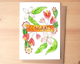 Congrats Flowers Watercolor Illustrated Greeting Card/Stationery + Envelope
