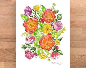 Spring Flowers Illustrated Watercolor Art Print
