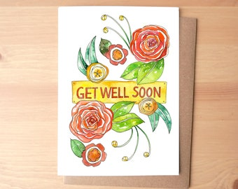 Get Well Soon Flowers Watercolor Illustrated Greeting Card/Stationery + Envelope