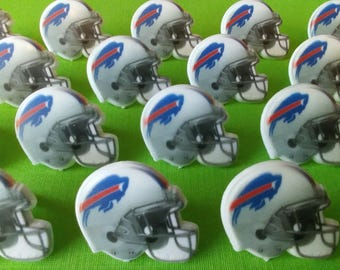 24 BUFFALO BILLS helmet cupcake rings picks cake topper NFL Football  Birthday party goodie bags favors fall sports bachelor grooms sports 32cbbdedf