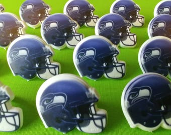24 Seattle Seahawks helmet cupcake rings NFL NFC picks cake toppers football  fan birthday tailgate party sport SUPERBOWL super bowl bachelor 3e6c89826