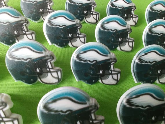 24 PHILADELPHIA EAGLES helmet cupcake rings picks cake topper  ddbae57e301