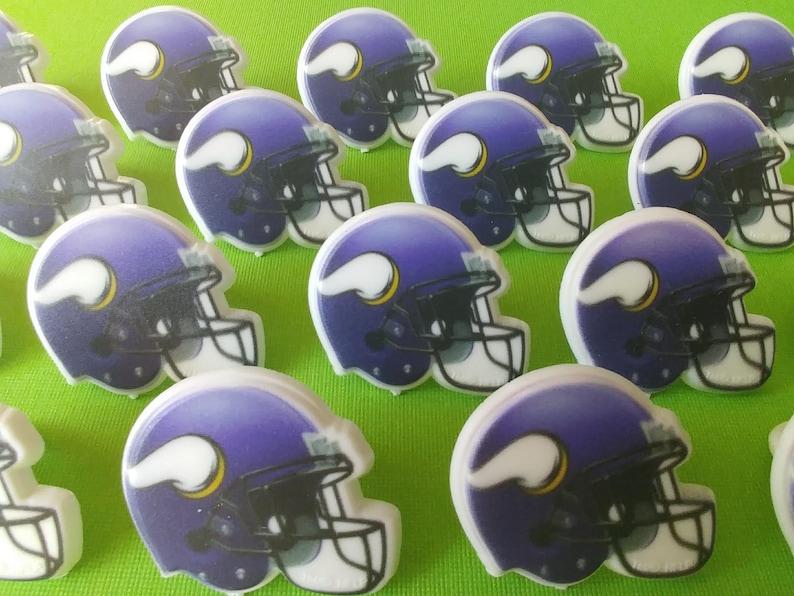 24 MINNESOTA Vikings helmet cupcake rings NFL picks cake  d4df0ca48dc