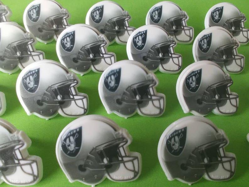 6f591250b46 24 OAKLAND RAIDERS helmet cupcake rings picks cake topper NFL Football  Birthday party goodie bags favors fall sports bachelor grooms