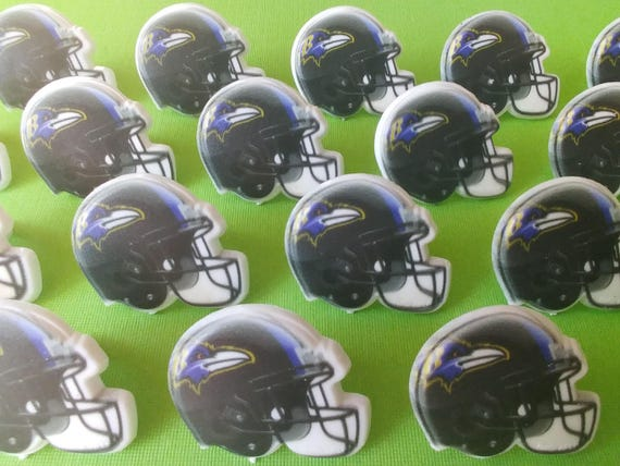8f0ce58a 24 BALTIMORE RAVENS helmet cupcake rings NFL picks cake toppers football  fan birthday tailgate party sport super bowl bachelor wedding baby