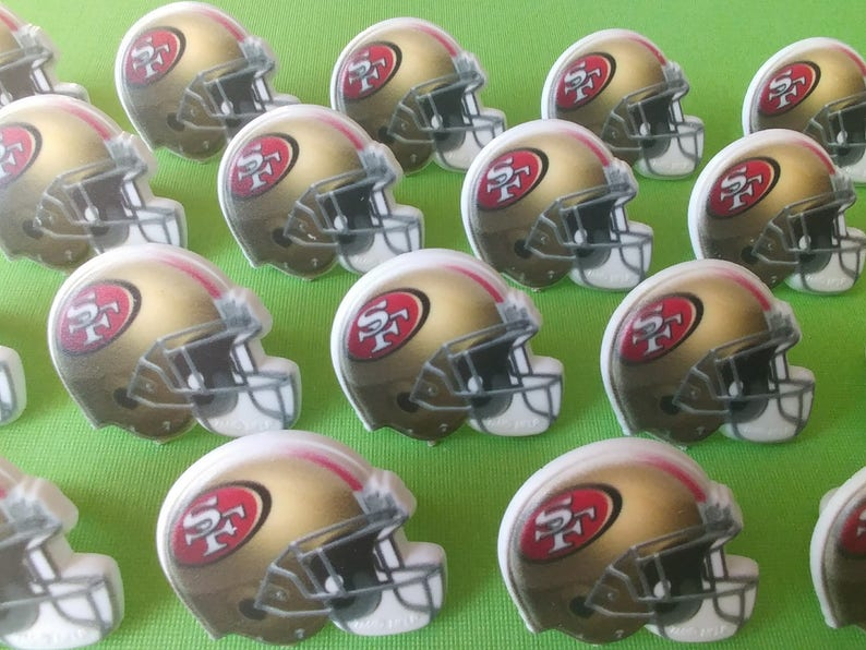 24 San Francisco 49ers NINERS Helmet Cupcake Rings NFL Picks