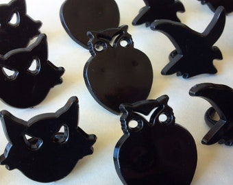SALE: Black cat owl witch cupcake rings picks or cake toppers, fun for halloween party, classroom treats, pair w/ our wrappers