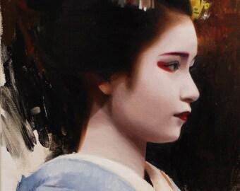 Naoai - original oil painting on 53cm x 24cm linen canvas - japanese geisha art asian maiko artwork