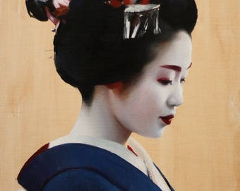 "Tomitsuyu - signed 8"" x 10"" print of an original oil painting - japanese geisha art"