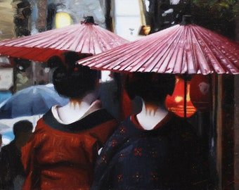 Rainy Day in Pontocho - 45cm x 27cm oil painting on linen canvas - japanese geisha art asian maiko artwork