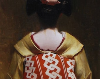 The Scarlet Fringe (Tomitsu) - original oil painting on 33cm x 24cm linen canvas - japanese geisha art asian maiko artwork