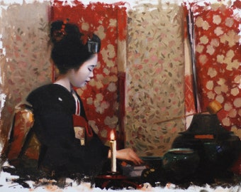 Chanoyu - 31.5cm x 41cm - original oil painting on canvas board - japanese geisha art asina maiko artwork