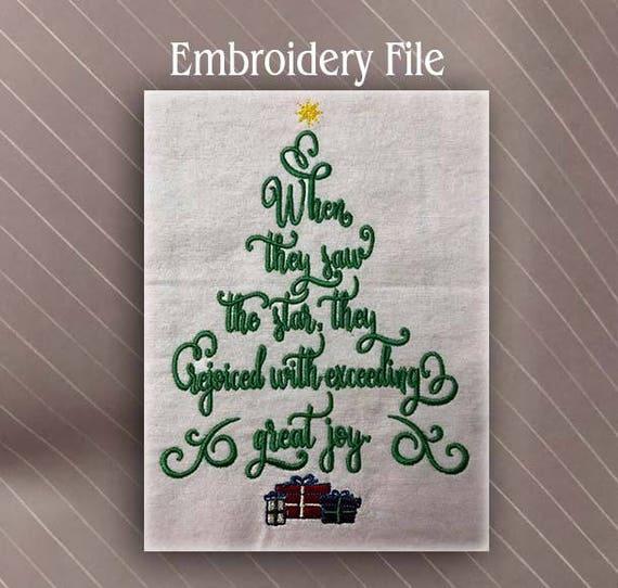 Christmas Tree In The Bible Scripture: Christmas Tree Bible Verse Matt 2:10 Machine Embroidery
