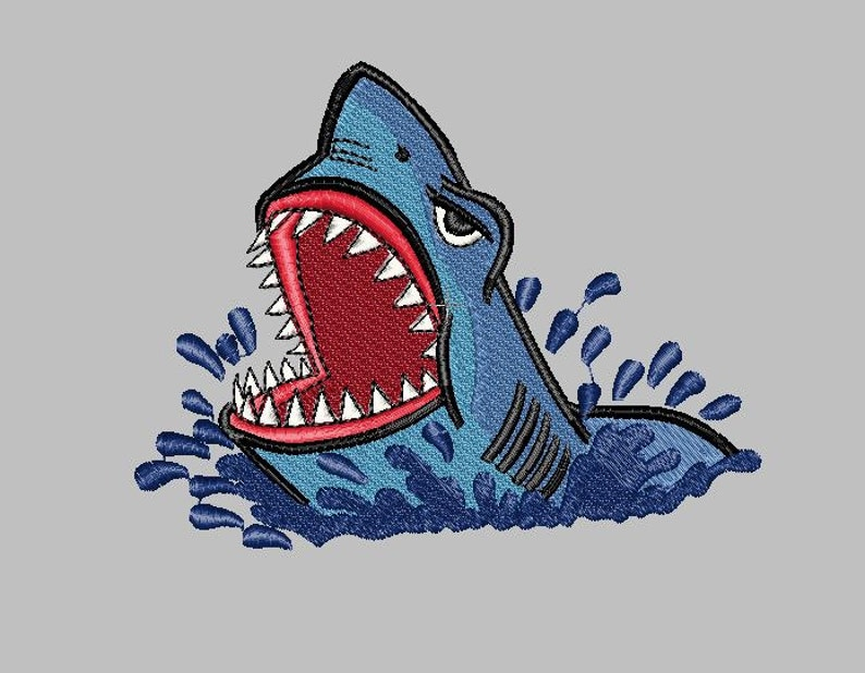 Shark jumping out of water 2 sizes Machine Embroidery Design File
