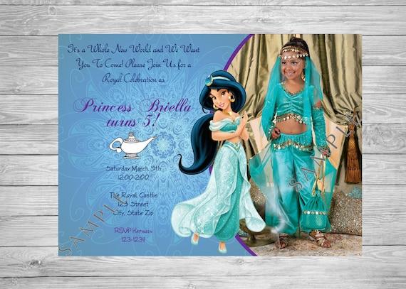 Princess Jasmine Birthday Invitation Aladdin