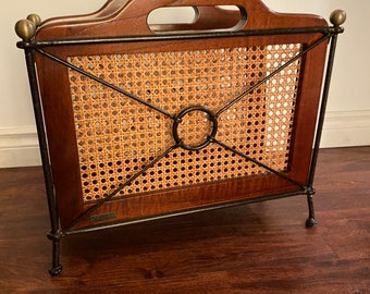 Rare vintage French cherry GRANGE MCM wrought iron and wood magazine racks