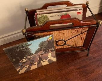 Rare vintage French cherry GRANGE MCM wrought iron and wood magazine/album racks